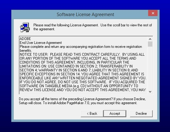 license agrement Adobe Pagemaker 7.0 accept