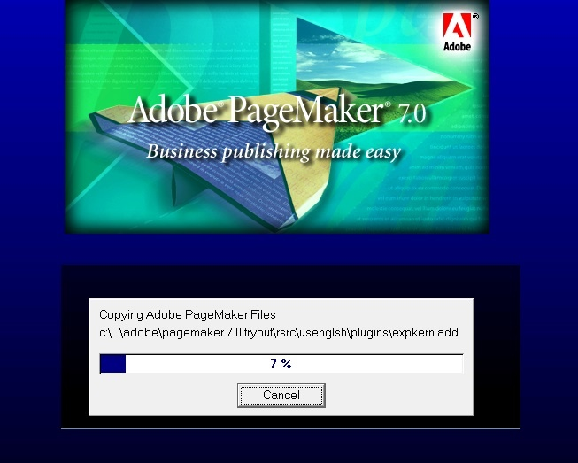 installation process start adobe page maker