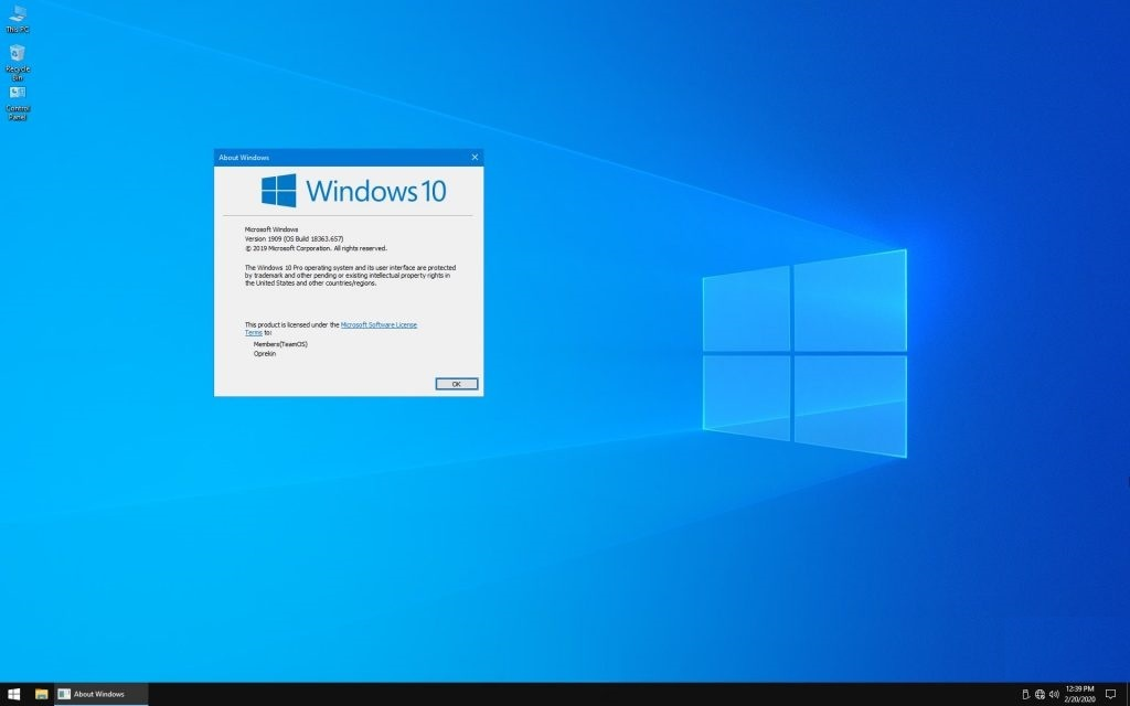 Windows 10 Pro 19H2 1909 x64 Lite  2020 ISO