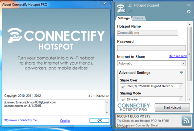 Connect a hotspot fo pc