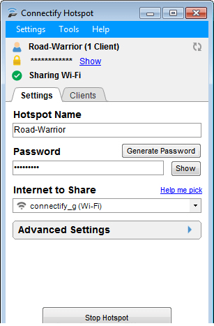 Connect a hotspot for free download